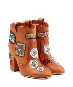 Laurence Dacade | Leather Ankle Boots With Logo Patches Gr. It 35