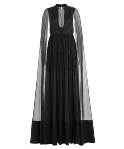 Valentino | Floor Length Silk Gown With Chiffon Cape Gr. It 42