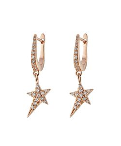 Diane Kordas | 18kt Rose Earrings With White Diamonds Gr. One Size