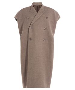 Rick Owens   Wool Blend Coat With Capped Sleeves Gr. It 42