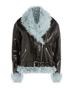 Sandy Liang   Leather And Shearling Biker Jacket Gr. Fr 36