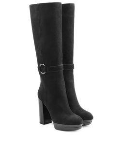 Hogan | Suede High Heel Boots Gr. It 40