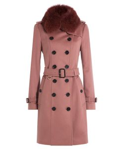 Burberry London | Wool Coat With Fox Fur Collar Gr. Uk 8