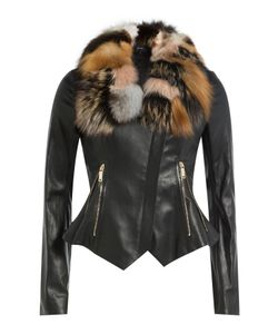 Jitrois | Leather Jacket With Fox Fur Gr. Fr 36