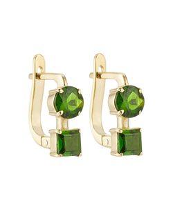 Ileana Makri | 18k Yelow Earrings With Chrome Diopside Gr. One Size