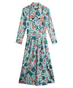 Burberry London | Printed Cotton Dress With Mulberry Silk Gr. Uk 8