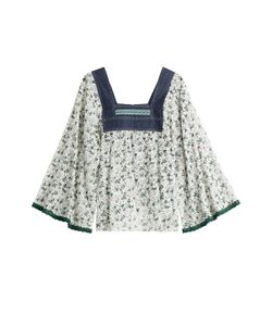 Anna Sui   Printed Blouse With Denim Gr. S