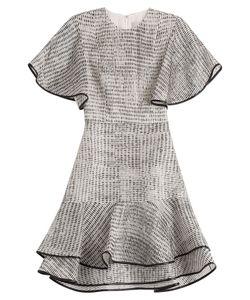 Jason Wu | Woodgrain Raffia Organza Short Sleeve Bias Ruffle Dress Gr. Us 6