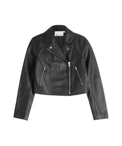 T by Alexander Wang | Cropped Leather Biker Jacket Gr. 6