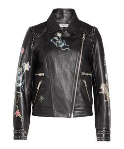 Zadig & Voltaire | Printed And Studded Leather Biker Jacket Gr. M