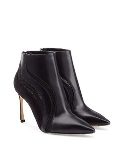 Sergio Rossi | Leather Suede And Mesh Booties Gr. 36