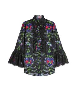 Anna Sui | Printed Blouse With Lace Gr. Us 10