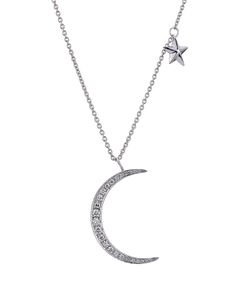 Anita Ko | 18kt White Gold Moon/Star Pendant Necklace With Diamonds Gr. One Size