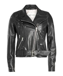 Sandy Liang | Astro Delancey Embroidered Leather Biker Jacket Gr. Fr 38