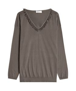 Brunello Cucinelli | Cotton Pullover With Fringing Gr. S