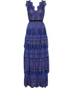 Catherine Deane | Isadora Lace-Paneled Tiered Silk-Organza Maxi Dress Cobalt