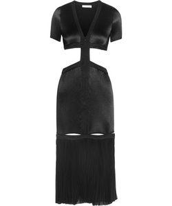 Barbara Casasola | Cutout Plissé-Satin Midi Dress
