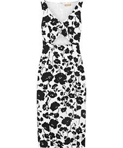 Michael Kors Collection | Cutout Print Textured Cotton And Silk-Blend Dress