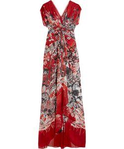 Roberto Cavalli   Twist-Front Printed Silk-Georgette Gown