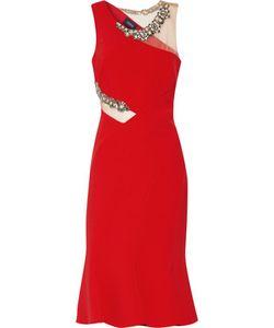 Marchesa Notte | Embellished Tulle-Trimmed Crepe Dress