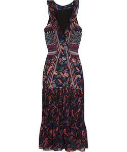 Saloni | Amy Printed Silk-Chiffon Midi Dress
