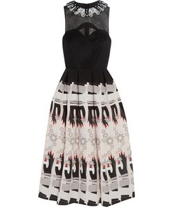 Holly Fulton | Embellished Wool And Printed Silk Crepe De Chine