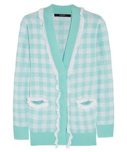Sibling | Ruffle-Trimmed Checked Knitted Cardigan