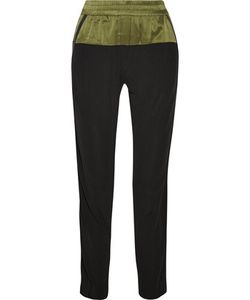 Ohne Titel | Leather-Trimmed Silk Tapered Pants