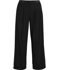 Donna Karan New York | Satin-Trimmed Crepe Wide-Leg Pants