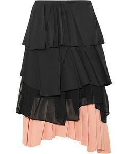 Cédric Charlier | Pleated Satin Cotton-Blend Poplin Mesh And Crepe Skirt