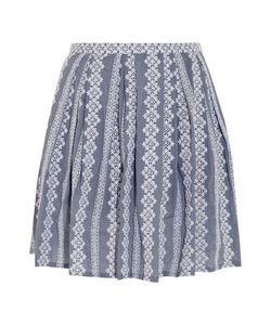 Band Of Outsiders | Embroidered Cotton-Chambray Mini Skirt