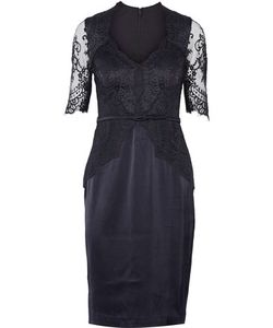 Catherine Deane | Belted Lace-Paneled Satin Dress