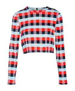 Tanya Taylor | Cara Cropped Plaid Stretch-Knit Top