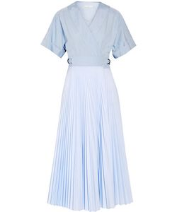 Tome | Pleated Poplin And Cotton Wrap Dress
