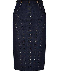 Tamara Mellon | Studded Stretch-Denim Skirt