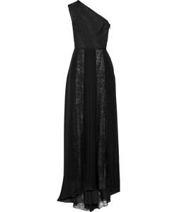 Tamara Mellon | One-Shoulder Lace-Paneled Silk-Chiffon Gown