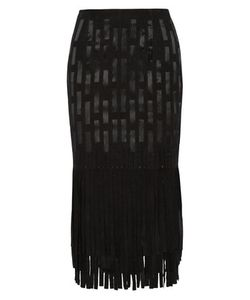 Tamara Mellon | Fringed Suede And Silk-Satin Midi Skirt