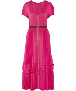 Barbara Casasola | Pleated Crepe De Chine Midi Dress