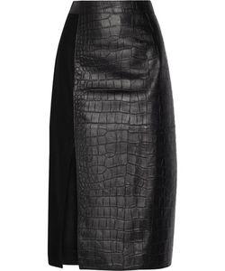 Jason Wu | Croc-Effect Leather And Wool Midi Skirt