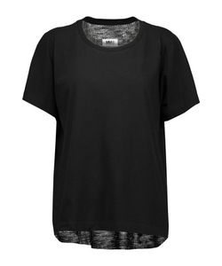 Mm6 Maison Margiela   Cotton-Jersey And Ribbed-Knit T-Shirt