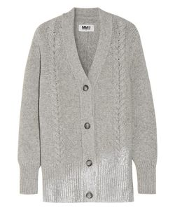 Mm6 Maison Margiela | Metallic Cable-Knit Wool-Blend Cardigan