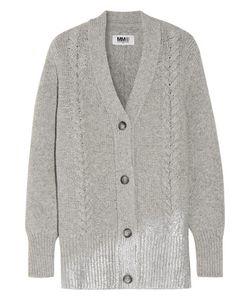 Mm6 Maison Margiela   Metallic Cable-Knit Wool-Blend Cardigan
