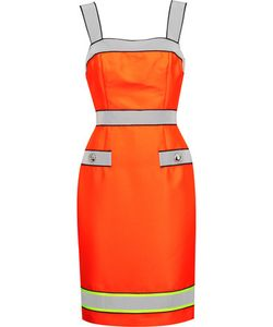 Moschino | Reflective-Trimmed Neon Twill Dress
