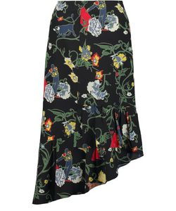 Tibi   Seville Asymmetricprint Silk Midi Skirt