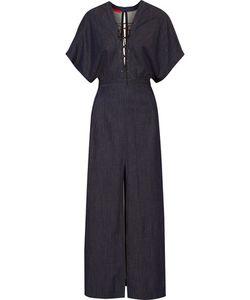 Tamara Mellon | Lace-Up Stretch-Denim Maxi Dress