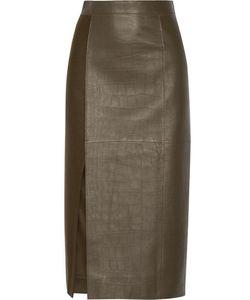 Jason Wu | Croc-Effect Leather And Wool Midi Skirt Army