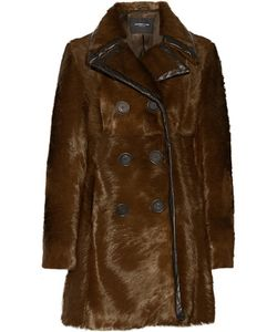 Derek Lam | Double-Breasted Leather-Trimmed Calf Hair Coat