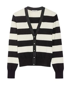 Bouchra Jarrar | Grosgrain-Trimmed Striped Wool-Blend Cardigan