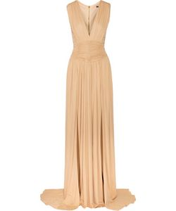 Balmain   Ruched Stretch-Jersey Gown