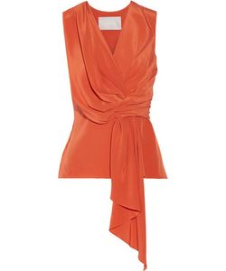 Jason Wu | Draped Silk Crepe De Chine Top Bright